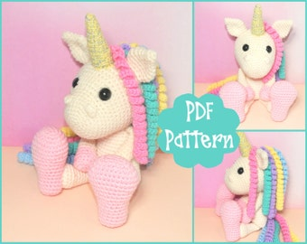 PDF - Unicorn Crochet Pattern, Unicorn Amigurumi, Amigurumi Pattern, Unicorn Plush, Unicorn Plushie, Unicorn Toy, Crochet Toy,