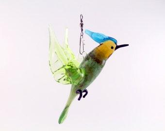 Stained glass suncatcher.art glass bird.home decor.glass birds.fused glass.bird ornament.glass suncatcher.fused glass bird.murano glass(pd8)