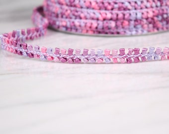 3 m of Ribbon 10mm, polyester, mauve and pink, (4832)