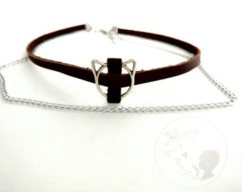 Choker, faux leather and suede, chain, and metal charms