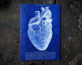 Macabre Medical Anatomical Heart, I love you Valentines, Anatomical Art, Gothic Decor, Occult Witchcraft Love Spell, Luxury greeting card.