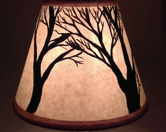 "4"" x 5"" hand painted lamp shade * tree silhouettes may vary. Craft paper shade. Clip on chandelier shade. Clip on desk lamp shade."