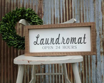 Rustic farmhouse inspired Laundromat framed wooden sign