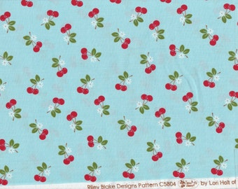 Sew Cherry 2 - Per Yd - Riley Blake - by Lori Holt - Cherries on Blue