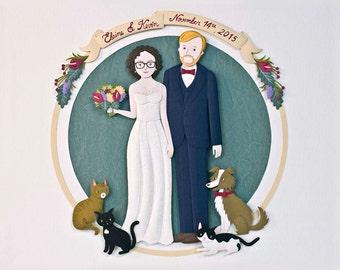 Wedding gift. Paper anniversary gift. Personalized wedding portrait. Paper cut custom portrait.