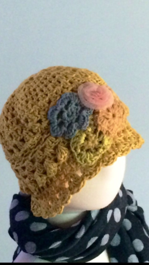 Baby Girl hat hand made crochet Mustard gold Girl hat Flower hat 12 month size hat