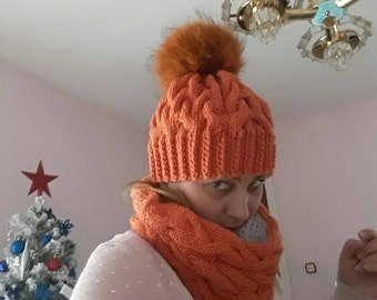 Wool Hat with pom pom hair natural Fox warm Beanie Hat woman original hat with pom pom Beanie wool hat made to man woman