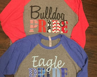 Mascot shirt, Team spirt tee, Pride, Eagle, Bulldog, Tiger, Lion, Ricebird, Hawk, Panther, Dragon, Hornet, Bear