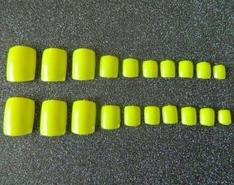 Neon Yellow False Toe Nails