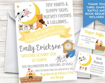 Nursery Rhyme Baby Shower Invite Invitation Digital 5x7 Personalized Lullabies Neutral