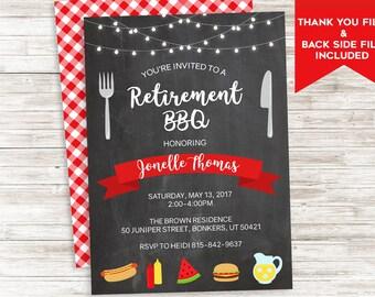 Retirement BBQ Invite Invitation Party Picnic Summertime Backyard Digital Personalized 5x7
