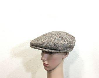70's vintage 100% wool newsboy cap hat made in british size 7 1/4