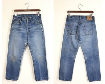 80's vintage levi's 501 blue stech denim pants jeans made in usa size w31