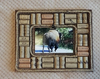Wine cork unconventional picture frame or memo board - ready to ship
