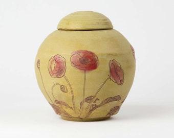 """Medium Poppies Urn - 7"""" x 5"""" -  poppy urn, cremation urn, red poppies, yellow urb"""
