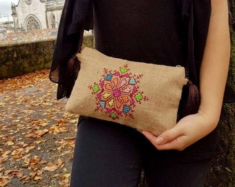 Sale 40% Embroidered clutch large wristlet hand bag ethnic bohemian colourful purse gift for her beige earthy hassian