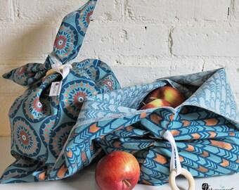 Duo of backpacks, bag fruit-vegetable, gift bag, bulk