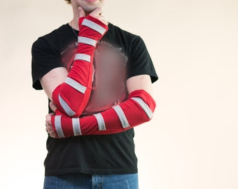 Red Arm Warmers, OOAK, Fingerless Gloves, Strappy Gauntlets, Upcycled Clothing, Rave Wear