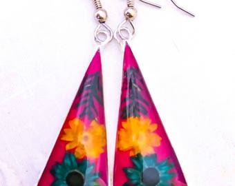 Resin Flower Earring;Real Flower Earrings;Resin Earrings;Dry Flower Earrings;Flower Earrings;Silver Plated;Real Flower Jewelry;Earrings;Gift