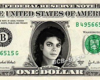 MICHAEL JACKSON on REAL Dollar Bill Cash Money Bank Note Currency Dinero Celebrity