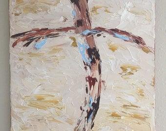 Oil, beautiful cross, Impasto Original Art