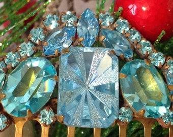 Vintage Rhinestone Hair Comb, Blue Starburst Rhinestone Hair Clip, Blue Hair Accessory, Rhinestone Hair Comb, Vintage Bridal Jewelry
