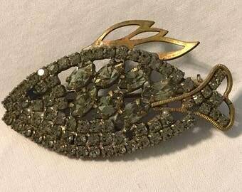 Husar Vintage Figural Rhinestone Fish Pin, Grey and Bass Fish Brooch, Rhinestone Figural Fish Pin