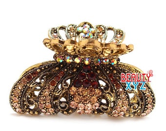 Brown Crystal high quality Metal Imperial crown Hair Claw Clip Pin