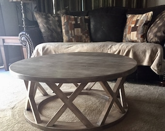 "42."" Round Rustic x brace coffee table"