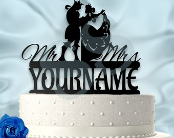 Personalized Classy King and Queen Wedding Cake Topper