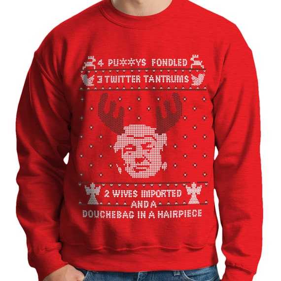 Donald Trump Ugly Christmas Sweater - On the 4th day of Trumpmas