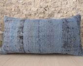 Overdyed Blue Pillow 12 x 24 Home Decor Armchair Pillow Turkey Pillow Kilim Lumbar Decorative Pillow Tribal Pillow One Colour Blue Pillow