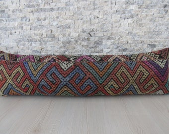 handmade kilim rug pillow case turkey floor cushion 12x42 decorative pillow kilim cushion large size turkish kilim pillow 12x42 aztec pillow