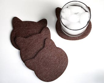 Cat Head Drink Coasters for Drinks in 4mm Thick Cork Backed Vegan Friendly Felt Trendy Fun Cat Lover Gift Crazy Cat Lady Brown Coaster Set