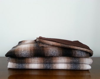 Dark Brown Plaid Wool Blanket Throw