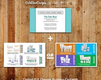 Rodan and Fields Business Cards / Teal / Chevron / Block Colors / Products / Regimen / Mini Facials / Instructions / Digital /  Printable