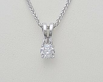 Diamond solitaire necklace,white gold pendant,prong setting pendant,diamond pendant