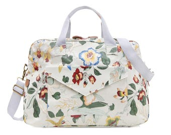 Oilcloth Overnight Bag - Orchid Floral print - Travel bag - Weekend bag - Ladies Duffel bag - Diaper bag - Carry on bag - Large Ladies Bag