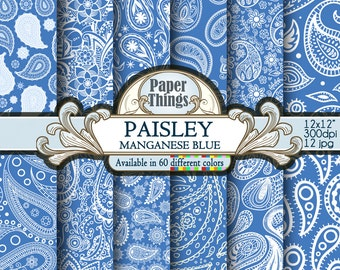 Blue Manganese Paisley Digital Paper: Blue Indian Paisley Paper with Printable Floral Patterns and Blue Manganese Paisley Scrapbook Papers