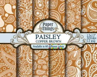 Copper Brown Paisley Digital Paper Pack, Copper Brown Scrapbooking - White and Brown Patterns for Downloadable Printable Scrapbook Layouts