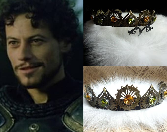 bronze Crown Tudor Baroque male Dolce men Crystals Filigree Renaissance Jewelry king prince Circlet Headband Cosplay hair olive rich brown