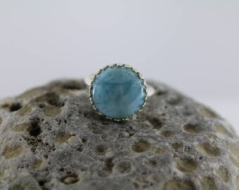 LARIMAR - RING  size 7 - Handcrafted Made in usa - Sterling Silver - Free Shipping