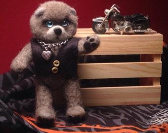Needle felted Mini Teddy-Mini Teddy Bear-One-of-a-kind Teddy Bear-Teddy Collectible-Handmade Teddy Bear