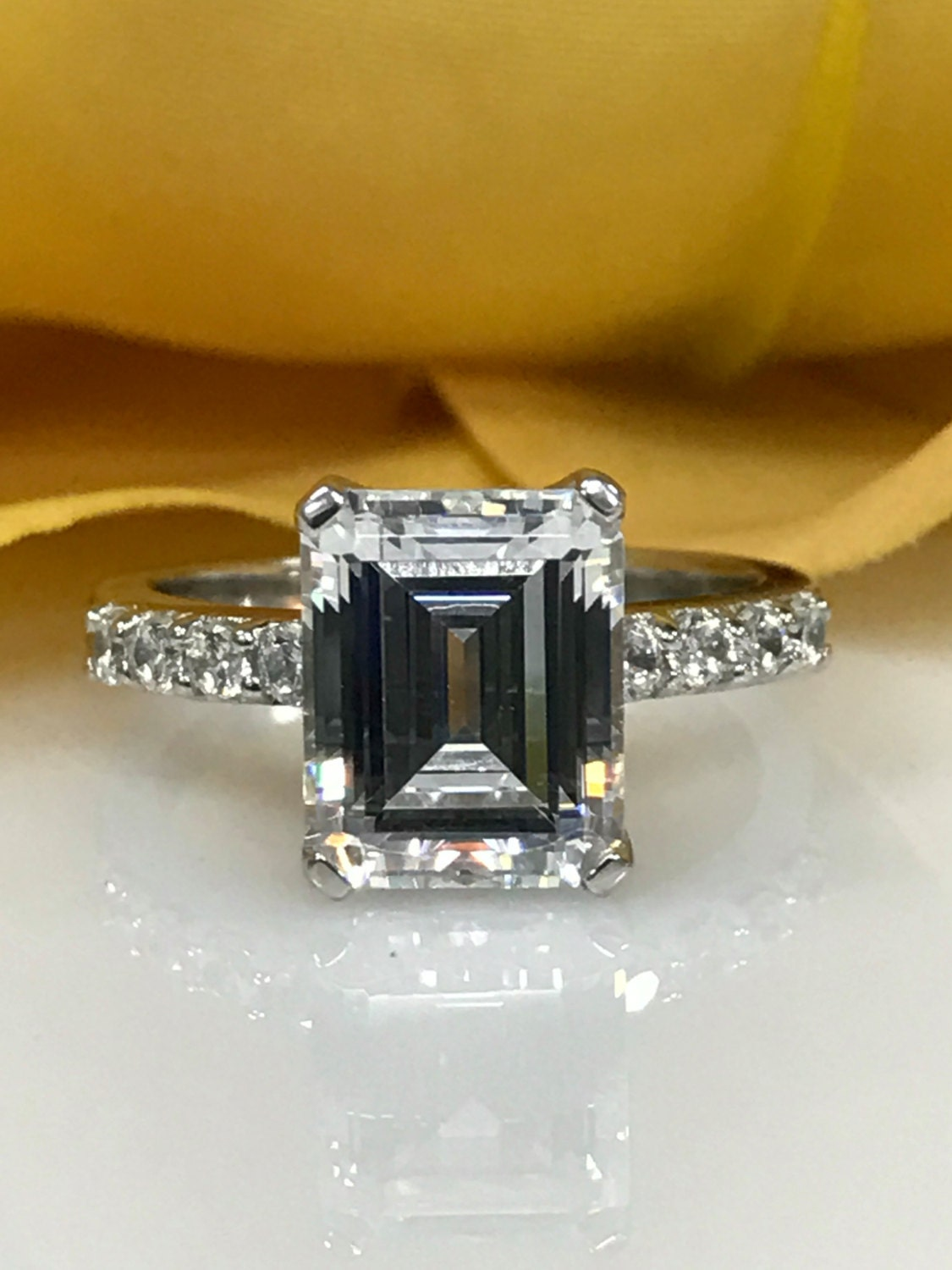 emerald cut engagement wedding anniversary promise solitaire