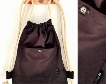 Drawstring bag, Vegan Bag, Shoulder Bag, canvas bag, beach bag, gym bag, black bag, Drawstring backpack, String bag, Cinch bag, gift for her