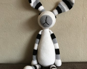 Crochet rabbit, black white grey