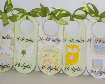 Set of Baby Closet Dividers, wooden dividers, decoupaged closet dividers, nursery decoration, five closet dividers