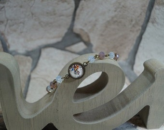 "Bracelet glass beads ""Bird with a music note"""