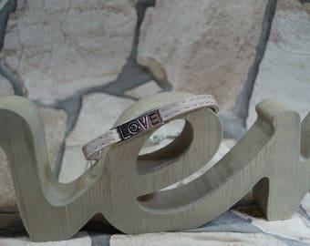"Leather wristband ""Love"""
