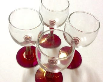 Vintage Set of 4 Cordial Glasses With Red Irridescent Stem and Base - 1940's